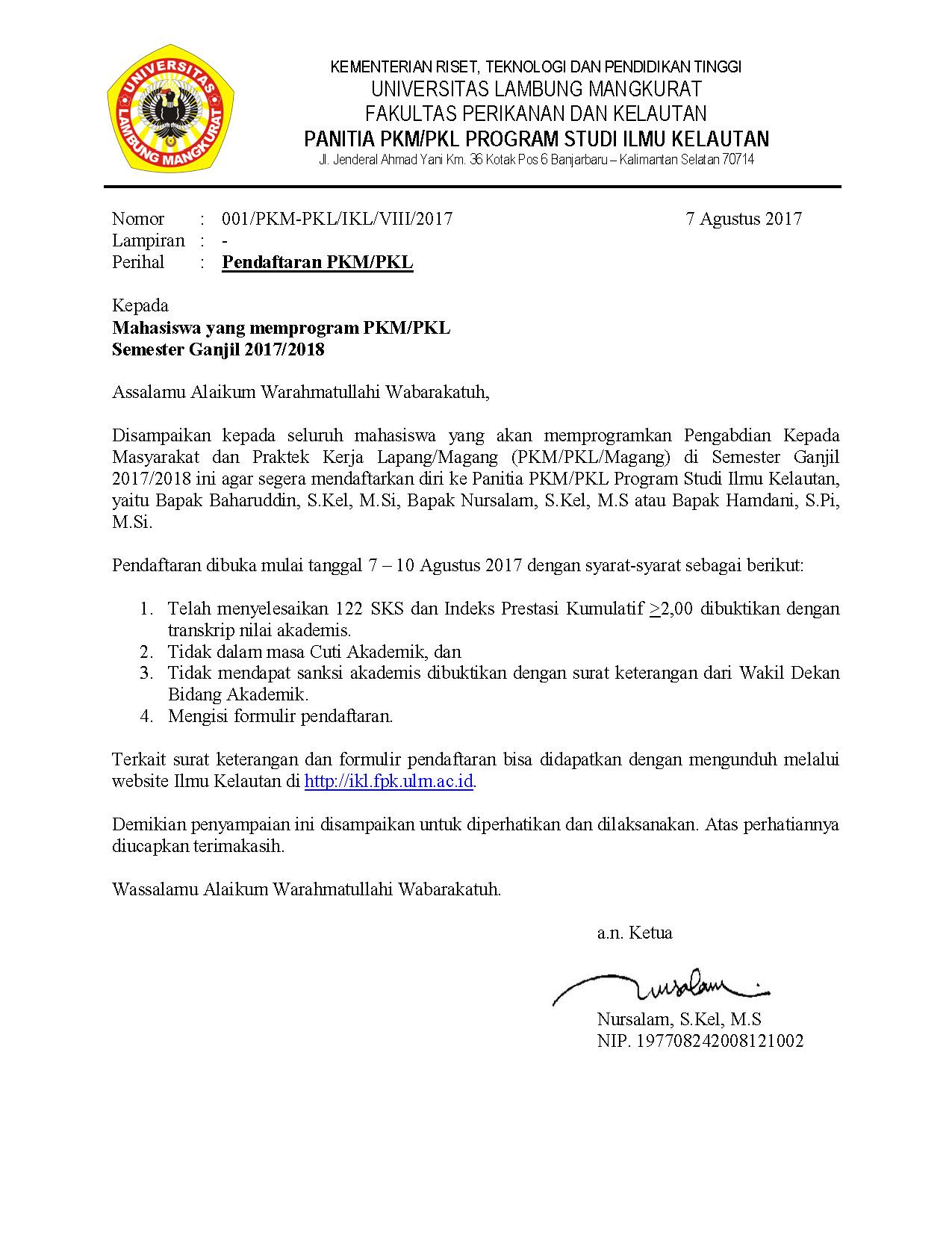 Pelaksanaan Pkmpkl Jurusan Ikl Semester Ganjil 20172018